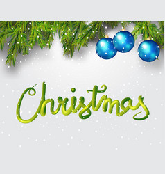 merry christmas 3d lettering xmas placard cover vector image vector image