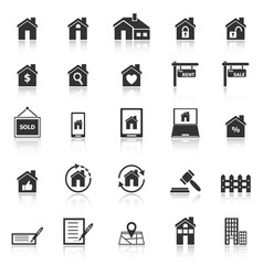 Real estate icons with reflect on white background vector
