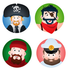 set of four round of avatars with a picture of vector image vector image