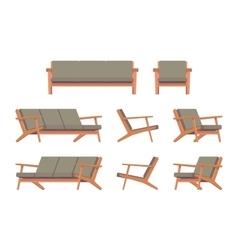 Set of retro green divan and armchair vector
