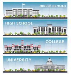 set of university high school and college study vector image vector image