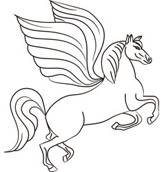 silhouette of a horse with wings - pegasus vector image