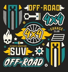 Vinyl stickers and badges for off road car vector