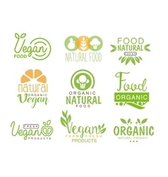 Vegan natural food set of template cafe logo signs vector