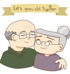 Happy Grandparents Day Old Couples Love vector image