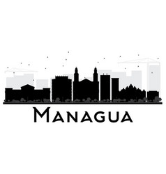 Managua city skyline black and white silhouette vector