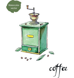 antique coffee grinder and coffee beans with vector image