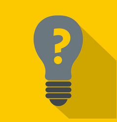 gray light bulb with question mark inside icon vector image