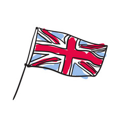 Great britain flag hand drawn isolated icon vector