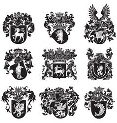 set of heraldic silhouettes No5 vector image