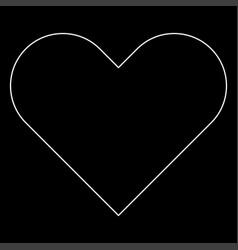 Heart the white path icon vector
