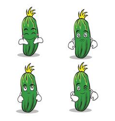 cucumber character cartoon collection set vector image