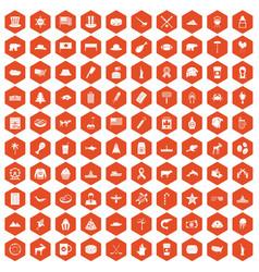 100 north america icons hexagon orange vector