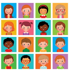 Set avatars boys and girls vector