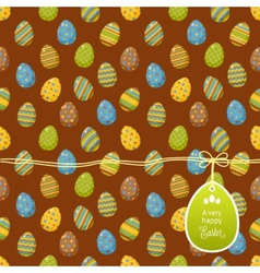 Easter pattern with egg label vector