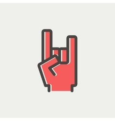 Rock hand thin line icon vector