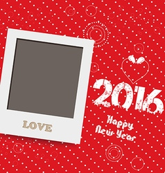Happy new year 2016 blank instant photo frame vector