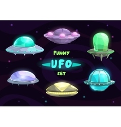 Cartoon fantastic ufo set vector