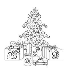 Christmas tree and boxes with gifts in monochrome vector