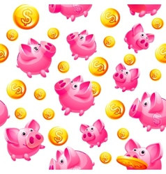 Piggy bank and coins seamless vector