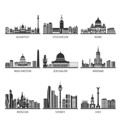 World famous cityscapes black icons set vector