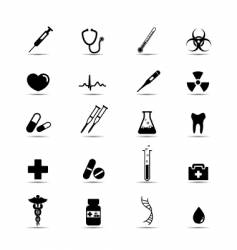 black and white medical icons vector image