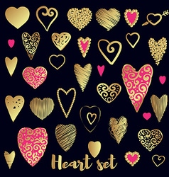 Set of gold and pink ornate heart vector
