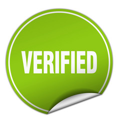 Verified round green sticker isolated on white vector