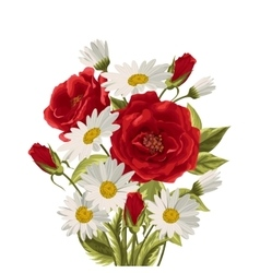 Beautiful white daisies and red roses vector