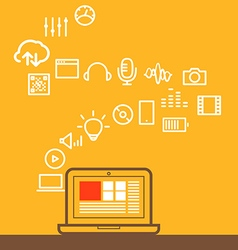 Modern computer media with different icons design vector