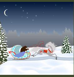 A bear drives a horse in a sleigh vector