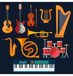 Acoustic and electric musical instruments icons vector image vector image