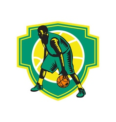 Basketball Player Dribbling Ball Woodcut Shield vector image vector image
