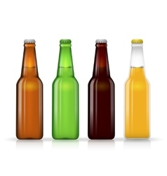 Beer bottle set dark and lager vector