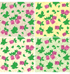 beige and green seamless patterns with red roses vector image
