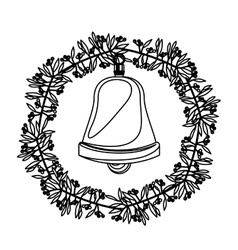 Bell inside crown of christmas season design vector