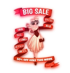 Big sale clothes poster with ribbon vector image