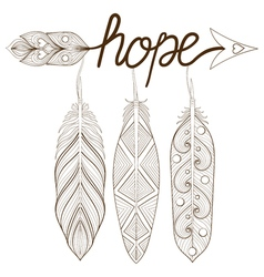 Bohemian arrow hand drawn amulet letters hope with vector