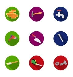 Build and repair set icons in flat style big vector
