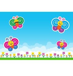 Butterfly family Nature background with green vector image vector image