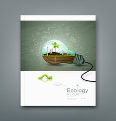 Cover annual report light bulb ecology concept vector image