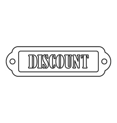 Discount rectangle label icon outline style vector