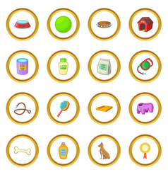 Dog care icons circle vector