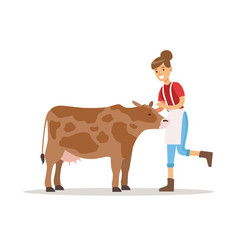 Farmer woman caring for her cow farming and vector