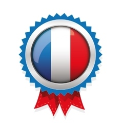 France badge with red ribbon vector image