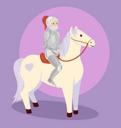 Knight on white horse cartoon vector