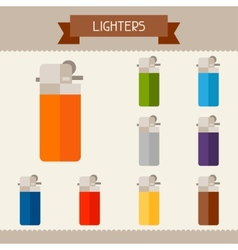 Lighters colored templates for your design in flat vector