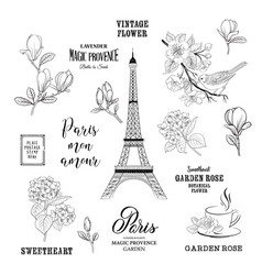 paris romantic collection vector image vector image