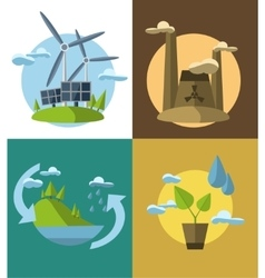 Set flat design concept with vector image