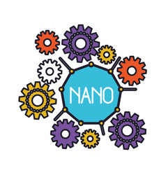 Set gear machinery around of nano molecule vector